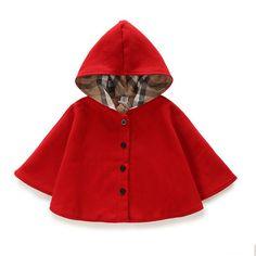 2015 invierno primavera moda niños bebé del patrón del cabo negro rojo de algodón a cuadros con capucha Capa de las muchachas chaquetas del bebé del cabo capas ropa(China (Mainland))