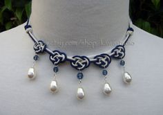 Double Coin Knot Cord Necklace with Swarovski by Kawastudio, $40.00