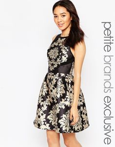 Image 1 of Chi Chi London Petite Baroque Strap Back Prom Dress