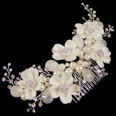 Fleur Ivory Bridal Hair Flower on Comb 14cm (Silver)