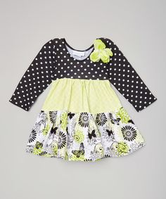 This Lime Dot Pinwheel Butterfly Dress - Infant, Toddler & Girls by Carolina Kids is perfect! #zulilyfinds