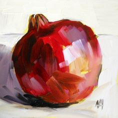 pomegranate original painting by moulton 6 x 6 inches