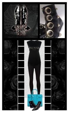"""""""Goth Pikes (7)"""" by irresistible-livingdeadgirl ❤ liked on Polyvore featuring AG Adriano Goldschmied, Yves Saint Laurent, Balmain, emo, goth, balmain and saintlaurent"""