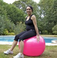 Indoors or outside fitballs are great for pregnancy fitness! Keep you core strong, stay toned and work pelvic floor! Click for workout ideas!