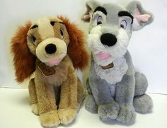 Disney Rare Stuffed Plush Lady And The Tramp Set Singing Interactive Dogs