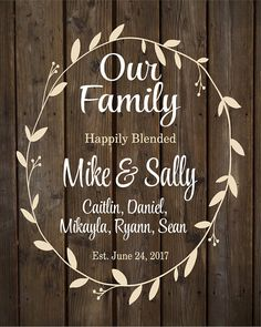 Custom Name Blended Family Sign Monogram Rustic Inspired Wood Sign or Canvas Wall Hanging Wedding Anniversary Gift Housewarming Low Cost Wedding, Our Wedding, Wedding Quotes, Wedding Ideas, Dream Wedding, Family Wood Signs, Family Name Signs, Wedding Anniversary Gifts, Wedding Gifts
