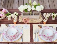 pink rustic table setting