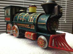 VTG 1960s Masudaya Toys Japan? Tin Western Train Locomotive W/Cow Catcher #MasudayaModernToys
