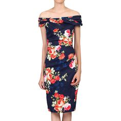 BuyJolie Moi Floral Bardot Neckline Dress, Navy, 16 Online at johnlewis.com
