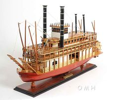 """Everybody has heard of Huckleberry Finn, but many don't know that the """"King of Mississippi"""" plays a large part in...(continued) http://www.themodelship.com/mississippi_paddlewheel_model_ship.html $327"""
