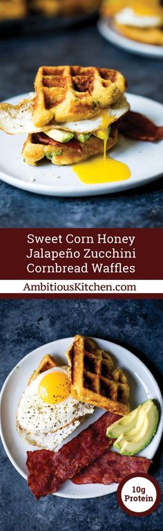 Sweet Corn Honey Jalapeno Zucchini Cornbread Waffles with Turkey Bacon & Eggs A savory breakfast featuring whole grain honey jalapeno zucchini cornbread waffles. Delicious, filling and perfect when topped with a fried egg and a side of turkey bacon! No Cook Appetizers, Appetizer Dishes, Cheese Appetizers, Appetizer Recipes, Health Appetizers, Zucchini Cornbread, Cornbread Waffles, Savory Breakfast, Breakfast Recipes