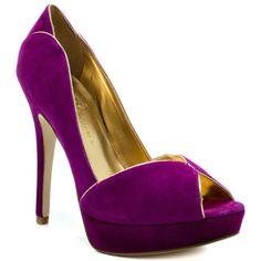 Purple Suede Women Shoes peep toe #prom