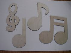 Music Wall Art Set, Clef and Music Notes, Laser Cut, Unfinished Wood, Home Decor #Unbranded