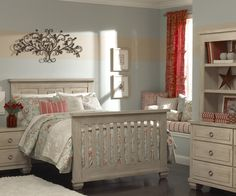 Echelon Sonoma Collection in Driftwood converted from crib to full size bed.