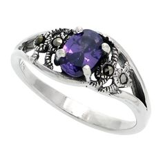 Sterling Silver Marcasite Freeform Ring w Oval Cut Amethyst CZ 38 inch 10 mm wide size 75 ** To view further for this item, visit the image link.(This is an Amazon affiliate link and I receive a commission for the sales)