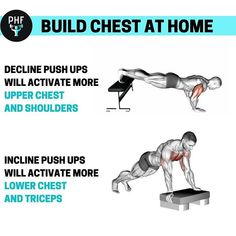Push ups are a staple exercise in any chest workout home. Pec Workouts, Leg Workouts For Men, Chest Workout For Men, Chest Workouts, Easy Workouts, At Home Workouts, Home Chest Workout, Chest Exercises, Men Exercise
