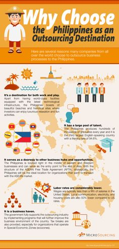 The Philippines has become an outsourcing hub in Asia along with industry giants such as India and China, as it provides good workforce and excellent offshore outsourcing solutions to clients abroad.    Check out this infographic which illustrates several reasons the Philippines is chosen as an outsourcing destination by many companies from all over the world.
