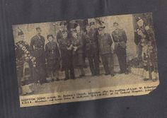 Outside St Andrew's Church, Jerusalem after the wedding of Lieut W Robertson KOSB, Aberdeen and Snr Sister A McKenna QAIMNS of 16 General Hosp, Jerusalem. (Grandad is piper on far left).