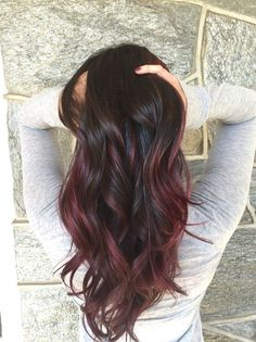 Black to Red Balayage Ombre