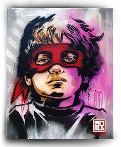 KID OF THE BLACK NIGHT pochoir, spray à la bombe et acrylique sur toile 80x100 cm