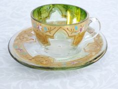 Enameled Glass Teacup and Saucer - Vintage Arte Italica Gold and Enamel Demitasse Tea Cup