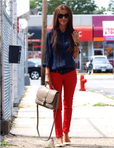 Red pants, navy dot blouse