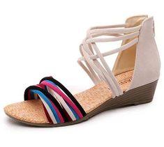 bd795f5617441a Kuro amp Ardor Sandals for Women Gladiator Wedge Low Heel Comfort Shoes  Summer  fashion   · Beige SandalsFlip Flop ...