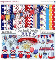 40 Off SALE July 4 Clip Art Digital Scrapbook by DigiScrapDelights