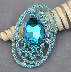 Rhinestone Brooch Embellishment Tiffany Blue Teal Crystal Wedding Brooch Bouquet Cake Invitation Hair Comb Shoe Clip DIY BR368