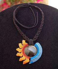SUN & MOON necklace with obsidian stone handmade by ARUMIdesign