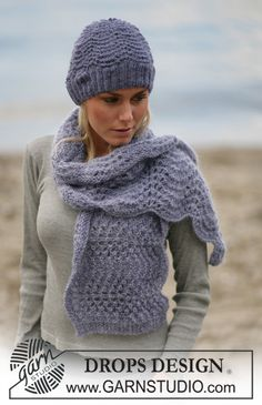 Hat and scarf in wavy pattern in Alpaca ~ DROPS Design