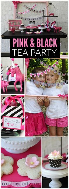 "Loving this ""Tiny Tea For Two"" outdoor party in black, white and pink! See more party ideas at Catchmyparty.com!"