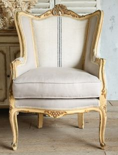Pair Vintage Shabby Cream Louis XVI French Style