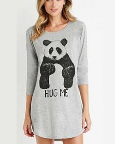 Animal panda t shirt dress for women gray long t shirts hug me design
