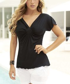 Take a look at the Black Gathered V-Neck Top on #zulily today!