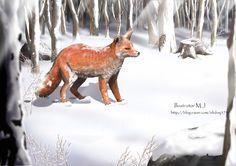 겨울 - 붉은 여우 세밀화 삽화
