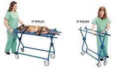 Veterinary Ultra-Lite Folding Transport (Fold-Up Gurney) - Saves space. 200 pound capacity. 2 Lift-off stretchers.