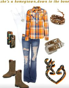 Country Outfit. Love the plaid shirt