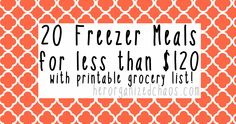20 Freezer Meals for less than $120 | Her Organized Chaos