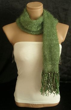 Hand knitted green elegant scarf by Arzus on Etsy, $13.90