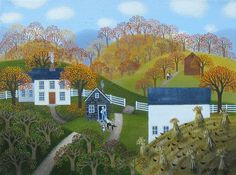 Autumn Days: landscape acrylic painting on canvas that measures 9 x 12 inches by artist Diana Card