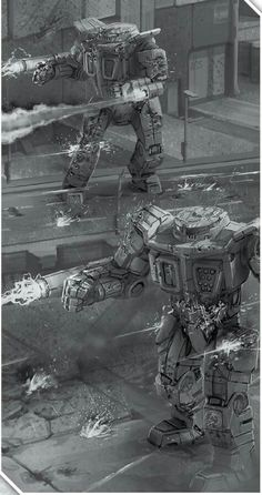 Battletech art: Pair of Von Rohrs heavy mechs