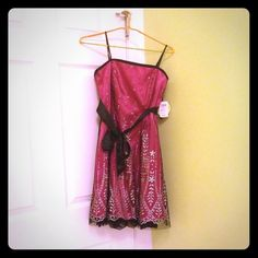 Morgan and co pink glitter dress a pretty dark pink dress with glitter and black lace. from Morgan & co. never been worn. in perfect condition. still has tags Dresses