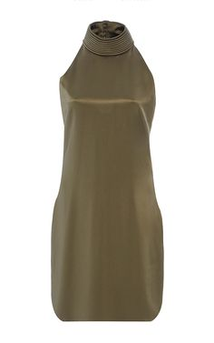 BRANDON MAXWELL Crepe Back Satin Piped Neck Shift Dress $1795
