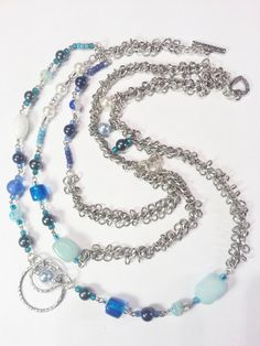 Necklace Earring Gift Set Blue Green Swarovski Crystal Pearls 433.  Such pretty blues and silver!