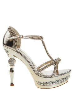 Glittering gold party shoes with plenty of pretty details. Cool heels with stones and decor on the sole.