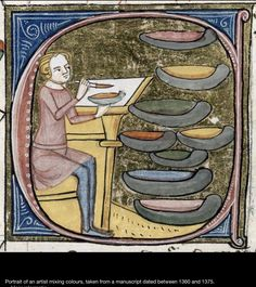 Medieval painter with paint pots