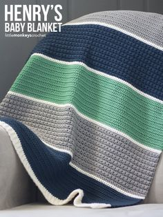 Color blocking and interesting textures make a modern, stunning crochet baby blanket perfect for a beautiful girl or a boy.... Note to pinner:  pattern saved in Ravelry Library