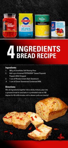 4 Ingredient Bread Recipe to try this weekend. Easy Bread Recipes, Lunch Recipes, 4 Ingredient Bread Recipe, 4 Ingredients, Stuffed Peppers, Fresh, Baking, Breakfast, Places