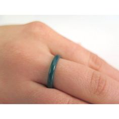 Green Agate Ring, Green Band Ring, Stackable Gemstone Ring, Green... (£9.18) ❤ liked on Polyvore featuring jewelry and rings